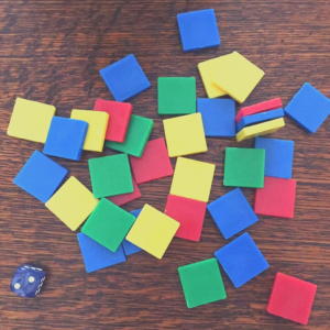 colored tiles for playing perimeter game