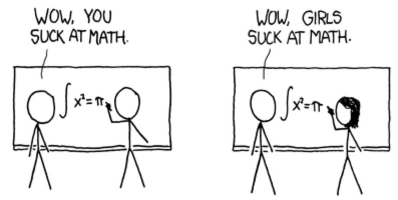 Cartoon message: girls suck at math