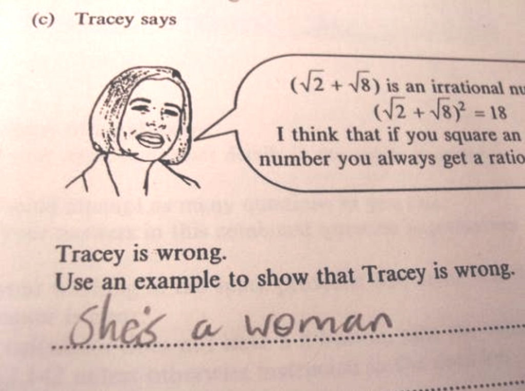 Cartoon: Tracey is a woman (so she's bad at math)