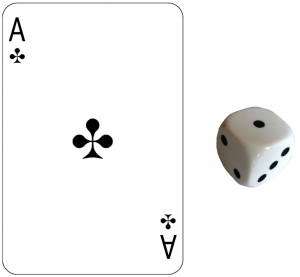 ace playing card and die