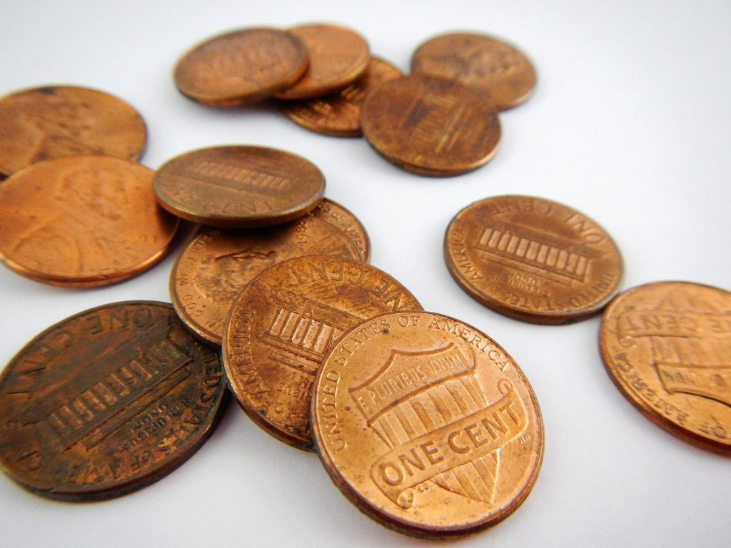 photo of pennies on the table