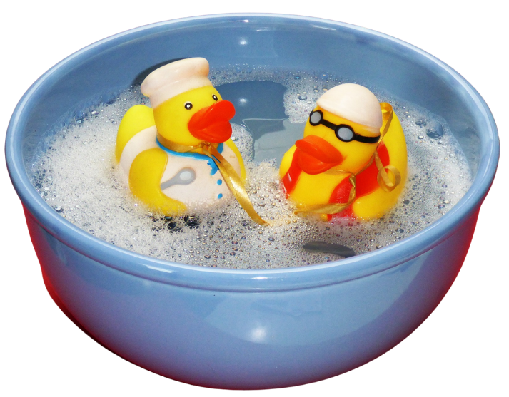 rubber ducky floating in water